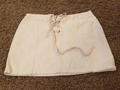Ladies White Short Denim Skirt Size 12 From L.F.L