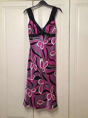 Oasis Black Purple/pink White Silk Dress Size 10