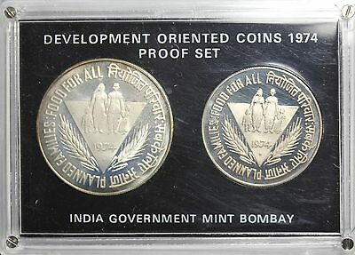 1974 Republic Of India Development Oriented 2 Coin Proof Set