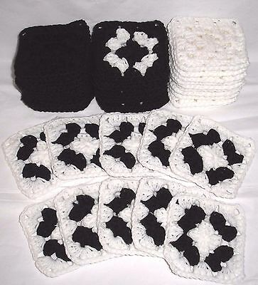 "40 New 4"" Granny Afghan Squares   Colors: Black & White"