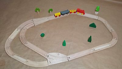 Wooden Train Table Starter Set - Wood Track, Split, Curved, Straight, Overpass
