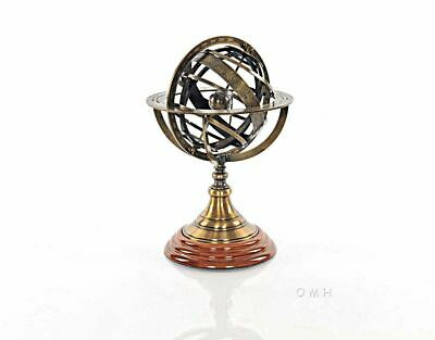 """Antiqued Armillary Bronze 12""""  Sphere On Wood Base with Zodiac Signs Globe"""