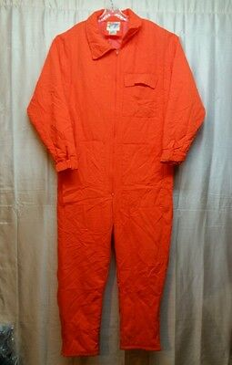 TROPHY CLUB Blaze Orange Insulated Hunting Coveralls 2XL Unsewn Pocket Spots-A68
