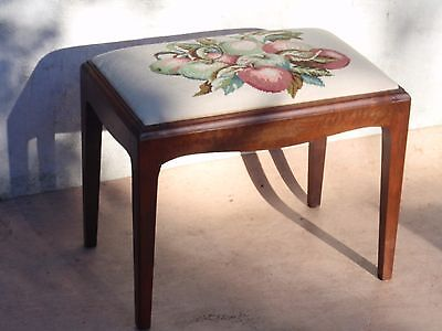 Vintage Mahogany Tapestry Padded Seat Piano Dressing Table Stool
