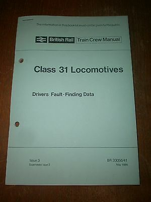 British Rail Train Crew Manual-Class 31 Locomotives, Drivers Fault Finding 1984