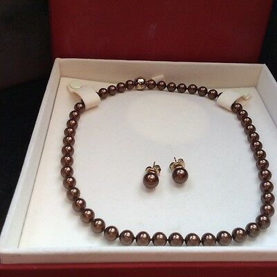 Majorica Chocolate Pearl Necklace and Earrings