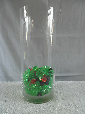 Glass vase with plastic coloured crystal