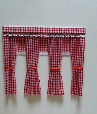 Dolls House Curtains Red Gingham With Fitted Blinds  Inside Bay