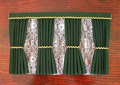 Dolls House Curtains Green And Gold  Inside Bay