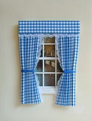 Dolls House Curtains Baby Blue  Gingham