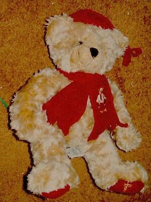 1999 Harrods Plush Christmas Teddy Bear W/ Scarf And Hat, Tush Tag 11 Inches