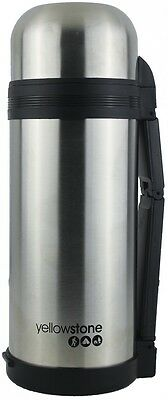 1.5L Stainless Steel Flask Silver - Carry Strap  - Yellowstone
