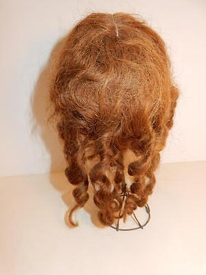 HUMAN HAIR LONG CURLY WIG FOR antique GERMAN FRENCH BISQUE DOLL BRUNETTE SIZE 12