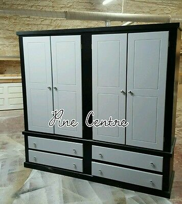 Handmade Gentleman (Black And Grey) 4 Drawer 4 Door Quad Wardrobe
