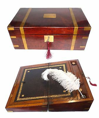 ANTIQUE VINTAGE MAHOGANY WRITING SLOPE BOX CABINET LAP DESK w BRASS BOUND & INK