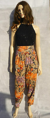 Vintage 1990s Fruit Print Peach Black High Waisted Tapered Trousers Hareem 10-12