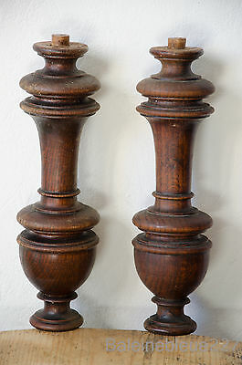 2 French Antique Carved Spindle Walnut Post Pillar Architectural Column Baluster