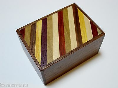 By OKA 3sun 12steps Walnut Stripes-Japanese Puzzle Box-Made in JAPAN Brand NEW