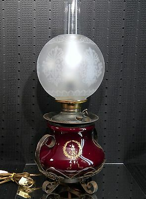 Victorian Juno Glass-Rod Iron Converted to Electric Lamp with Satin Globe