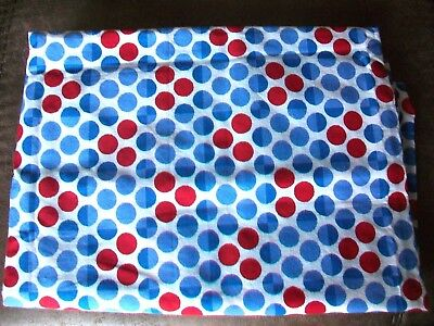 Vintage Blue & Red Dots On White Cotton Fabric