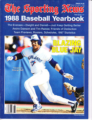1988 The Sporting News Yearbook George Bell Toronto blue Jays Rosters, Previews