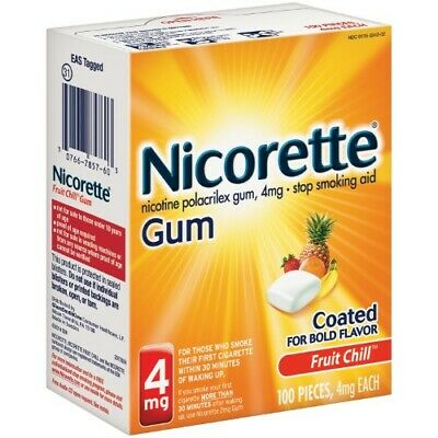 Nicorette Stop Smoking Aid Gum, FruitChill, 4mg, 100ct 307667857603A4051