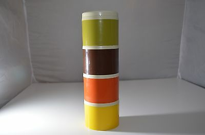 Vintage Tupperware Stackable Spice Shakers & Lids 4 Harvest Colors SCOUTS CAMP