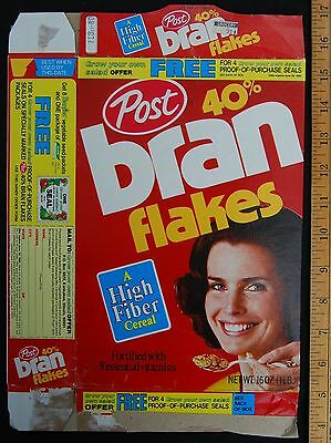 [ 1979 Post 40% Bran Flakes - Vintage CEREAL BOX with lady - BURPEE Seeds Promo]