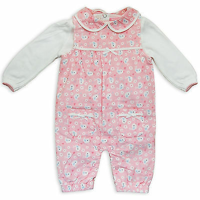 Baby Girls 2PC Set Corduroy Dungarees With White Top Pink White Bird Design