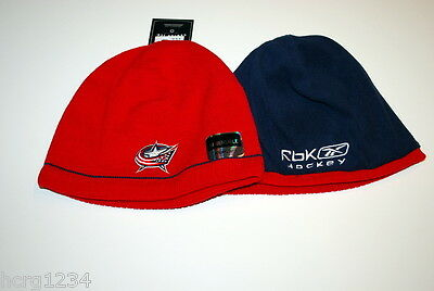 Columbus Blue Jackets Reebok NHL Reversible Youth 4-7 Knit Hockey Beanie Hat 10cf0b55a3c5