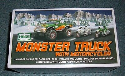 2007 Hess Monster Truck With Motorcycles New In Box!!!
