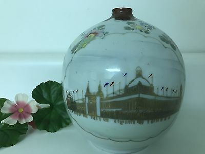 Vtg Round Floral Japanese Chinese Asian Oriental Ceramic Bud Vase Gold Buildings