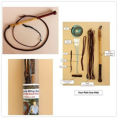 Cow Hide Stock Whip Kit  3 Foot by 4 Plait