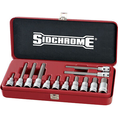 "Sidchrome 1/2"" Drive In-Hex & Spline Socket Metric 13pc Set SCMT 14275"