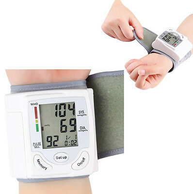 Blood Pressure Digital LCD Wrist Monitor Heart Beat Rate Pulse Meter Measure LOT