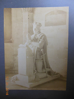 Vintage Cabinet Card 11 X 14 Statue of King Louis XVI France Abbe St. Denis