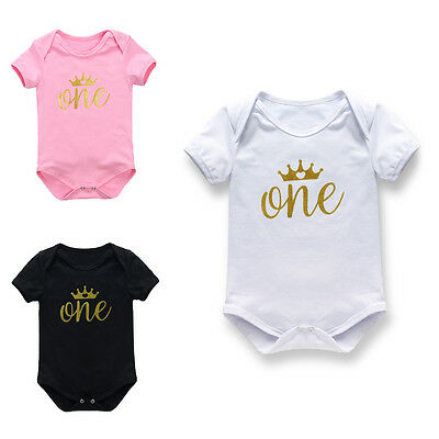 One Piece Newborn Baby Girls Romper 1st Birthday Crown Jumpsuit Outfit Clothes