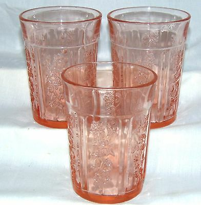"3 Federal SHARON/CABBAGE ROSE PINK *4 1/8"" 9 oz THICK WATER TUMBLERS*"