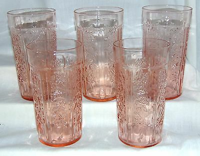 "5 Federal SHARON/CABBAGE ROSE PINK *5 1/4"" THIN ICED TEA TUMBLERS*"
