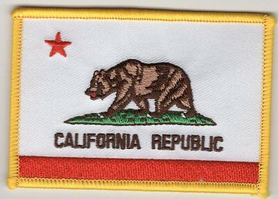 California Flag Patch Embroidered Iron On Applique
