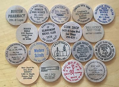 Lot Of 18 Wooden Nickels (Lot 31)