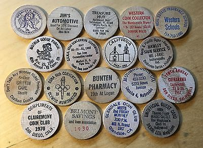 Lot Of 18 Wooden Nickels (Lot 24)