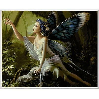 Wood Framed Paint By Number Kits Butterfly Fairy Digital Acrylic Canvas 16X20''