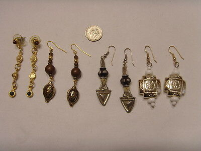 1950S Vintage Hand Crafted 3 Pairs Of Earrings + 1 Free Shipping Gift Hf1104