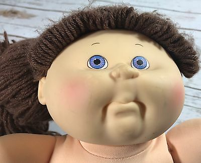 Vintage  1990 Hasbro Cabbage Patch Kids Doll 1st Edition Brown Hair Blue Eyes