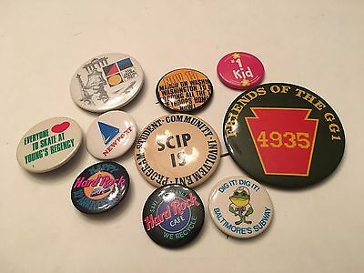 Button Lot of 10 Assorted Buttons / Pins Vintage Large & Small Lot 26