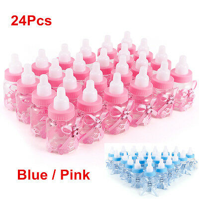 24Pcs Candy Box Baby Shower Bottles Baptism Party Christening Favours Blue/Pink