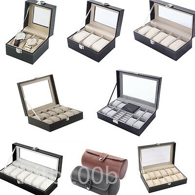 2~12 Grid Slots Wrist Watches Gift Case Jewelry Display Boxes Storage Holder~W