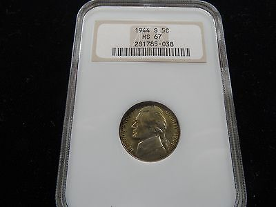 1944 S Silver War Time Nickel Jefferson Ngc Ms 67 Free Ship No Reserve