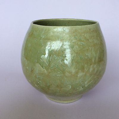 CRYSTALLINE POTTERY VASE GREEN BULBOUS SIGNED NW 96 Australian?